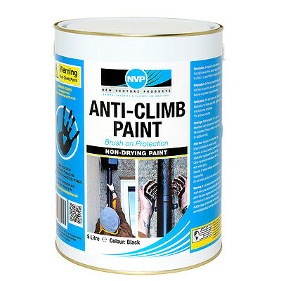 Anti Climb Paint (Anti Vandal & Intruder) -5 Litre (6.3kg) Black, Red Or Grey • 46.95£