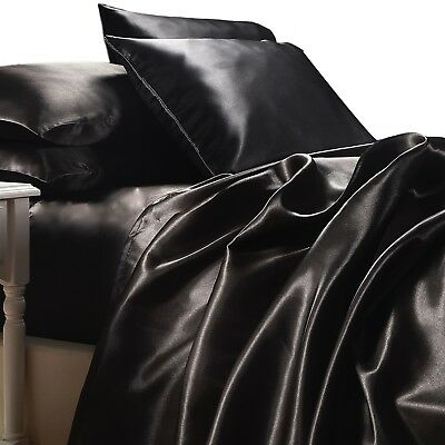 AU84.95 • Buy BLACK SATIN SHEETS KING Size 4pc Bedding Set Luxury Soft Silk Feel Bed Linen NEW