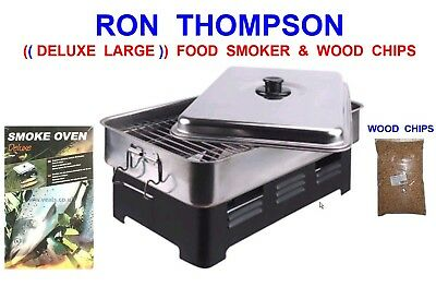 Ron Thompson Deluxe Large Food Smoker+wood Chips Meat Fish Poultry Cooker Bbq • 48.50£