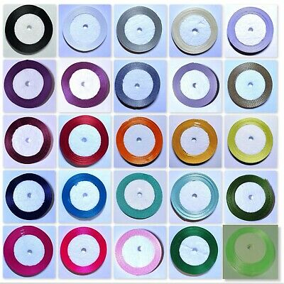 BUY 3 GET 3 FREE 22 Mtrs 10mm Satin Ribbon By Roll Various Colour UK SELLER • 2.19£