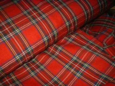 Finest Royal Stewart Tartan Fabric 80% Natural Viscose 20% Poly Red Suiting150cm • 4.70£