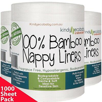 AU49.99 • Buy 1000 Flushable Biodegradable Baby Bamboo Nappy Liner,Disposable 5rolls FastPost
