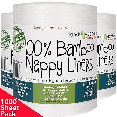 AU49.99 • Buy 880 Flushable Biodegradable Baby Bamboo Nappy Liner,Disposable 4 Rolls Fast Post