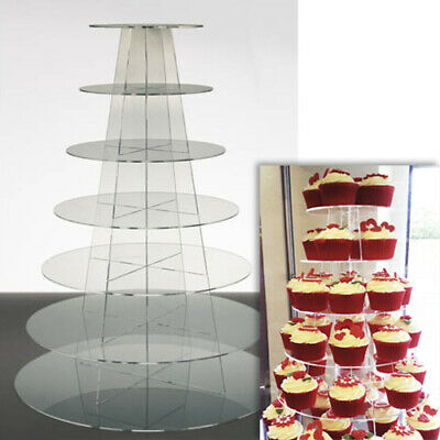 £36 • Buy Cupcake Stand 7 TIER ROUND - Clear Perspex Display Tower For Wedding & Party UK