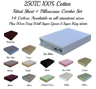 AU39 • Buy 250TC 100% Cotton Fitted Sheet & Pillowcase(s) Set All Sizes & 50cm Wall SQ/SK