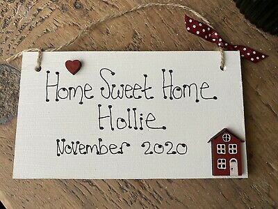 £5.45 • Buy Personalised First Home Sweet Home Sign Heart Plaque Gift New Home Family