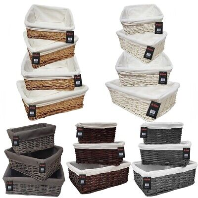 Wicker Willow Storage Baskets Lining Easter Gift Make Your Own Hamper Large • 11.99£