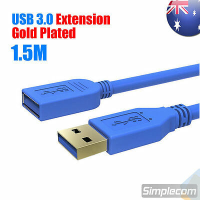 AU7.95 • Buy 1.5M 5FT USB 3.0 SuperSpeed Extension Cable Insulation Protected Gold Plated