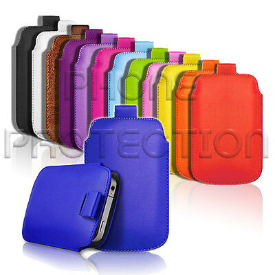 £2.79 • Buy Leather Pull Tab Skin Case Cover Pouch Fits Various Alcatel Phones