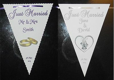 Wedding Bunting Banner Rings And Bells Designs 3m 10 Large Flags Personalised • 9.50£