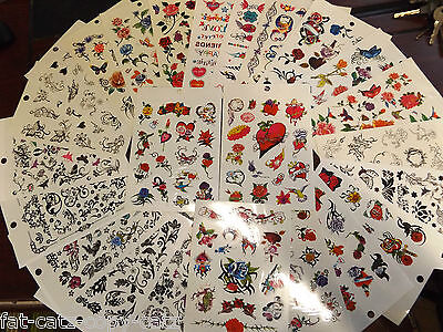 5 Sheets Girls Ladies Hearts Flowers Butterflies Celtic Bands Temporary Tattoos  • 2.25£