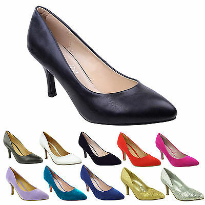 £19.99 • Buy Womens Ladies Low Mid High Kitten Heel Pumps Pointed Toe Work Court Shoes Size