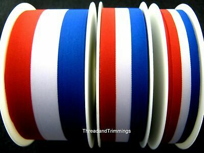 £2.49 • Buy RED, WHITE & BLUE PATRIOTIC TRICOLOUR RIBBON 15mm, 25mm, 40mm - FRANCE USA UK