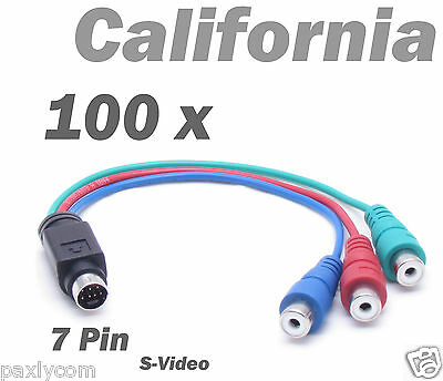 £690.47 • Buy Lot 100 X Pieces 7 Pin S-Video To 3 RCA RGB TV Component HDTV Adapter PC Cable