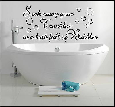 Bathroom Wall Sticker Quote Soak Away Bath Bubbles Home Family Art Decor Text • 12.99£