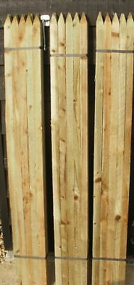 x 50mm dia ROUND /& POINTED WOODEN FENCE POSTS 7ft TREE STAKES 10 x 2.1m