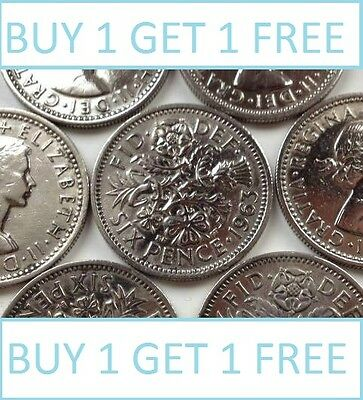 Lucky Silver Sixpences Order 1 Get 1 Free With Free Postage Choice Of Date • 1.49£