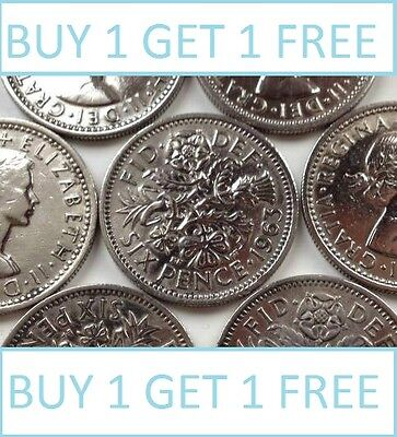 Lucky Silver Sixpences Order 1 Get 1 Free With Free Postage Choice Of Date • 2.99£