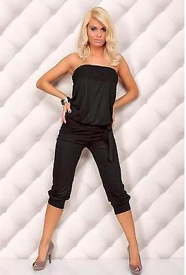 Women Ladies Summer Bandeau Strapless Boob Tube Jersey Stretch Jumpsuit Playsuit • 8.95£