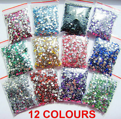 12 Colours 1000pcs Crystal Flat Back Acrylic Rhinestones Gems 3mm 4mm 5mm Craft • 0.99£