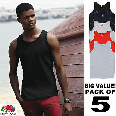£15.24 • Buy 5 Pack Of Mens Basic Athletic Vests Fruit Of The Loom - Choose Your Colour