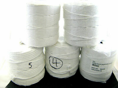 **100% BLEACHED WHITE COTTON CUSHION PIPING CORD 6 SIZES - GREAT For MACRAME • 3.99£