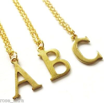 £3.75 • Buy Gold Initial Necklace, Personalised Letter Pendant Dainty Vintage Monogram Charm