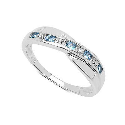 STERLING SILVER 0.25ct BLUE TOPAZ & DIAMOND CHANNEL SET ETERNITY RING SIZE H-W • 39.99£