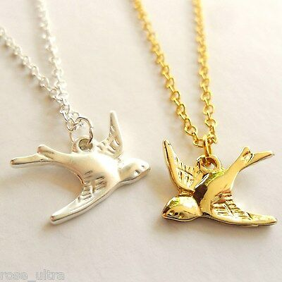Summer Swallow Necklace, Gold Or Silver Plated Brass, Bird Pendant, Gift Box UK • 2.99£