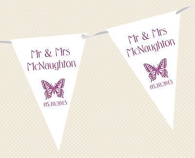 £7.95 • Buy PERSONALISED WEDDING BUNTING - BANNER - BUTTERFLY DESIGN Choice Of Flag Colours