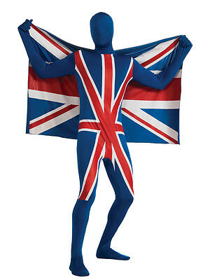 Adult 2nd Skin Union Jack Flag Fancy Dress Costume Olympics Full Body Suit BN • 25.79£
