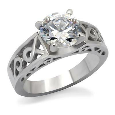 $11.18 • Buy Stainless Steel 2.5ct Round Solitaire CZ Wedding Engagement Promise Ring