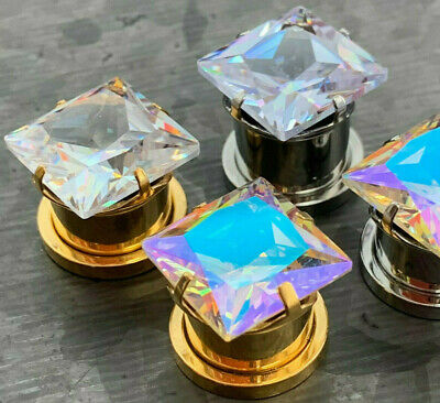 $11.50 • Buy PAIR Large Square CZ Gem Steel Screw Fit Tunnels Ear Plugs Gauges Earlets