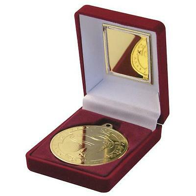 £5.50 • Buy 50mm Golf Medal In Red Presentation Box, Gold, Silver, Bronze, FREE Engraving