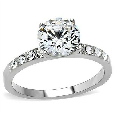 $10.99 • Buy Stainless Steel Solitaire Round CZ & Accents Promise Wedding Engagement  Ring