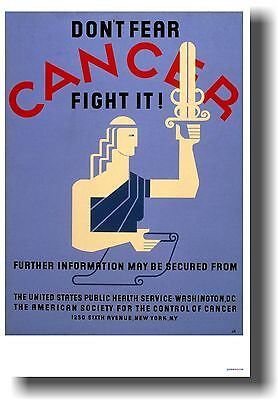 $9.99 • Buy Don't Fear CANCER Fight It! - NEW Vintage WPA Medical POSTER