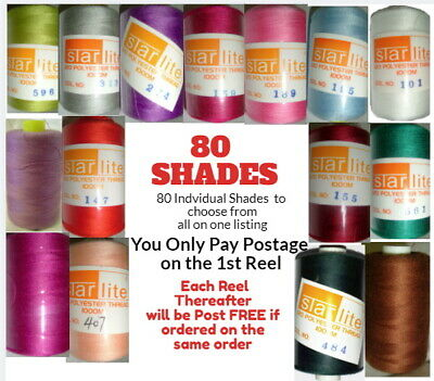 Sewing Machine Thread 1000m Spool Polyester Choice Of Colours Top Quality 120s • 1£