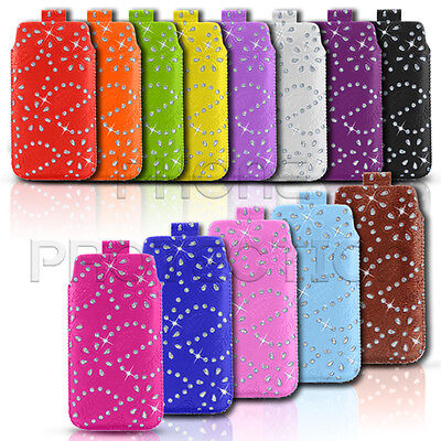 £2.79 • Buy Diamond Bling Leather Pull Tab Skin Case Cover Pouch Fits Various Alcatel Phones