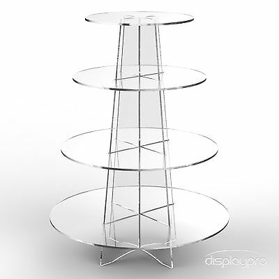 £16.15 • Buy Displaypro 4 Tier Acrylic Cupcake Display Stand Cup Cake Party Holder - Round