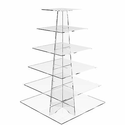 £32.32 • Buy Acrylic Cupcake Stand 6 Tier Cup Cake Display Birthday Party Riser - Square