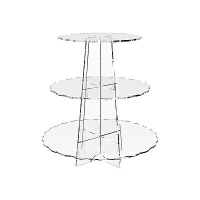 £12.81 • Buy Cup Cake Stand Acrylic 3 Tier Cupcake Display Holder Clear Riser - Scallop