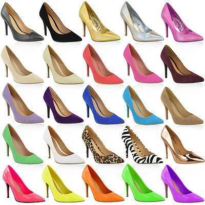 Womens Ladies Mid High Heel Wedding Bridal Party Prom Stiletto Court Shoes Size  • 17.99£