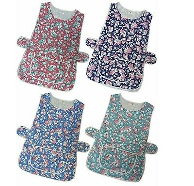 New Ladies Floral Print Front Pocket Side Button Washable Overall Tabard Apron  • 5.90£