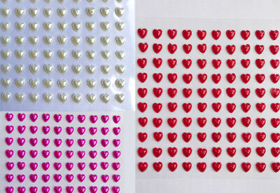 100 6mm Pearl Hearts Self Adhesive Pearl Gems Stickers Stick On Wedding Crafts • 1.10£