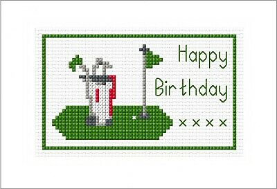£4.59 • Buy Golfing, Happy Birthday - Cross Stitch A6 Card Kit, Green - 14 Count, Anchor