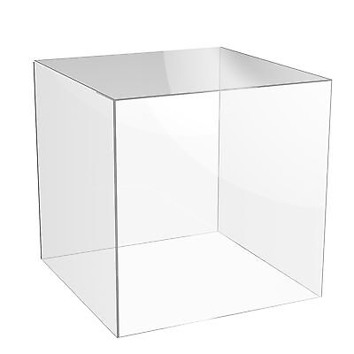 Acrylic Cube Display Stand Square 5 Sided Box Perspex Tray Case Shop Holder • 7.45£