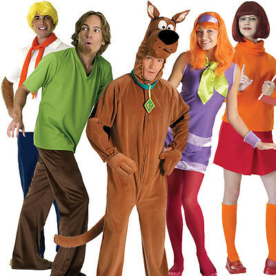 Licensed Adult Scooby Doo Fancy Dress Costume Halloween Outfit Wig Mens Ladies • 31.99£