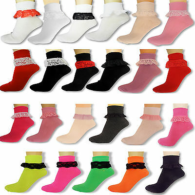 Girls Lacey Frilly Ankle Socks Ladies Childrens School Trainer Party Fancy Dress • 2.45£