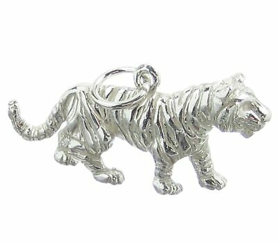 Tiger Sterling Silver Charm .925 X 1 Tigers Big Cat Cats Charms • 18.99£