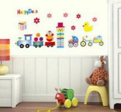 Train Happy Days  Nursery Childrens Wall Sticker Decoration Wall Art • 4.53£